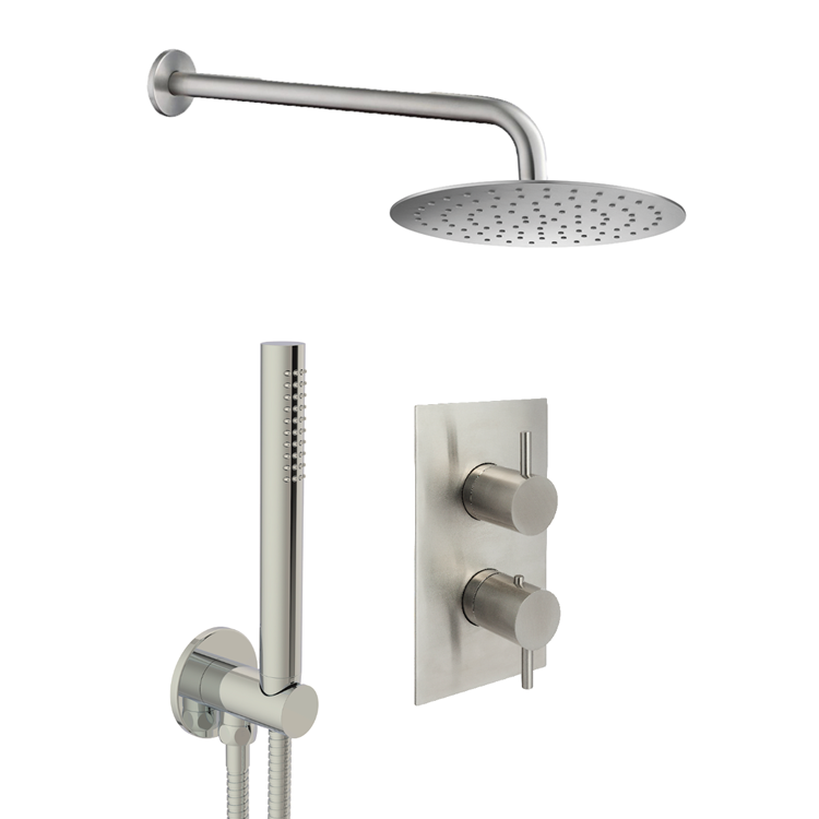 Photo of JTP Inox Brushed Stainless Steel 2 Outlet, 2 Control Shower Pack with Handset - Cutout