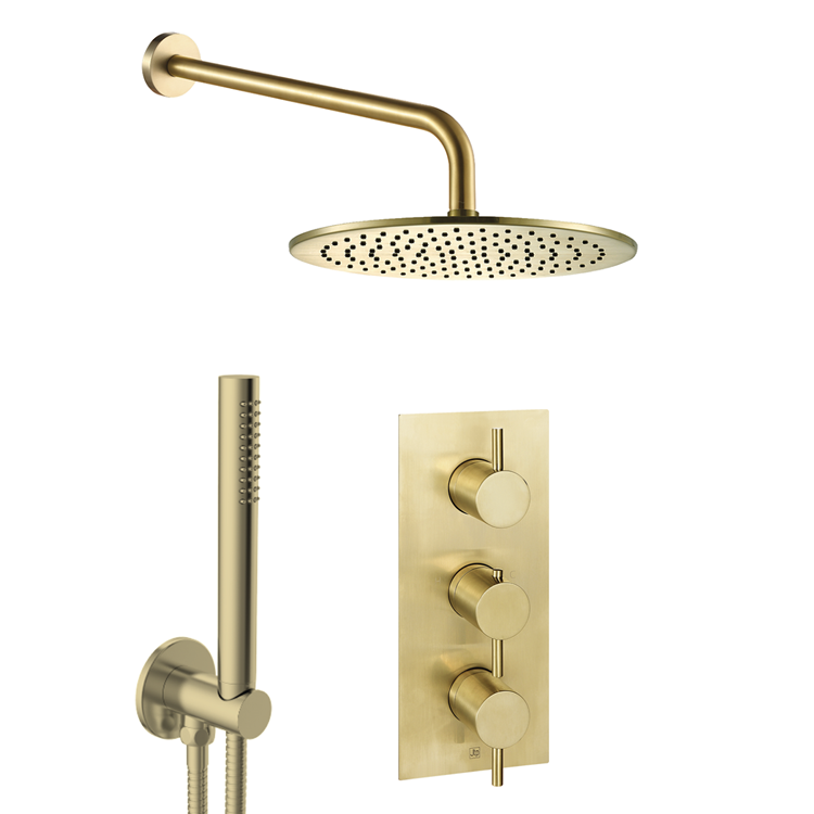 Photo of JTP Vos Brushed Brass 2 Outlet, 3 Control Fixed Head Shower Pack with Handset Cutout