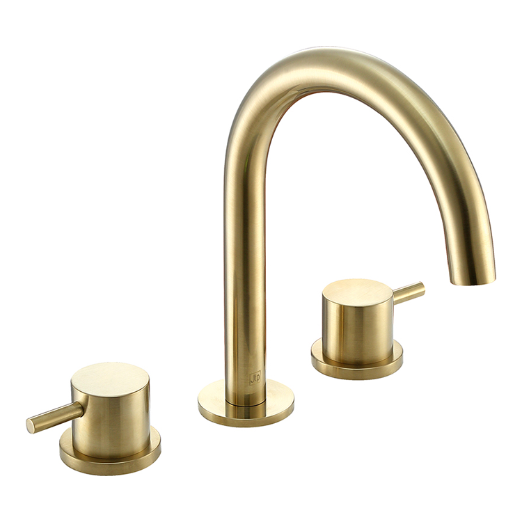 Photo of JTP Vos Brushed Brass 3TH Deck Mounted Basin Mixer