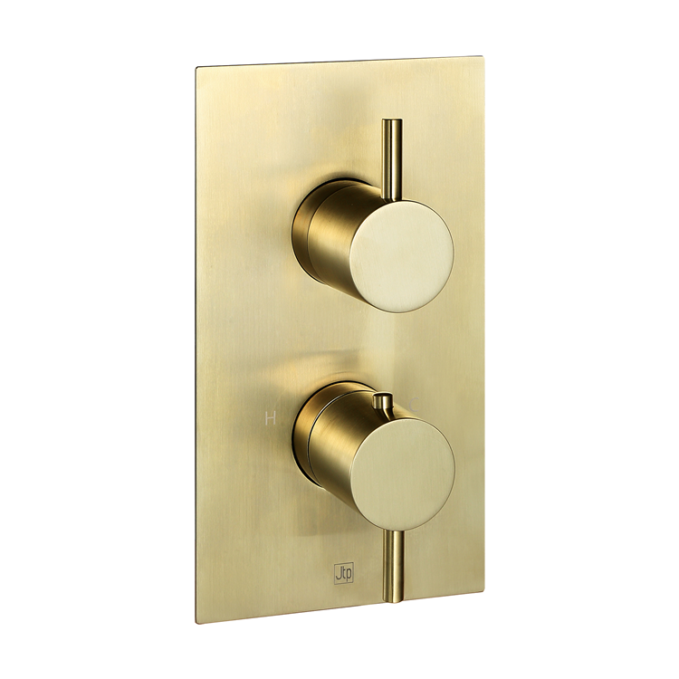 Photo of JTP Vos Brushed Brass Two Outlet Shower Valve Cutout