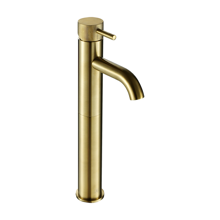 Photo of JTP Vos Brushed Brass Tall Basin Mixer with Designer Knurled Handle Cutout