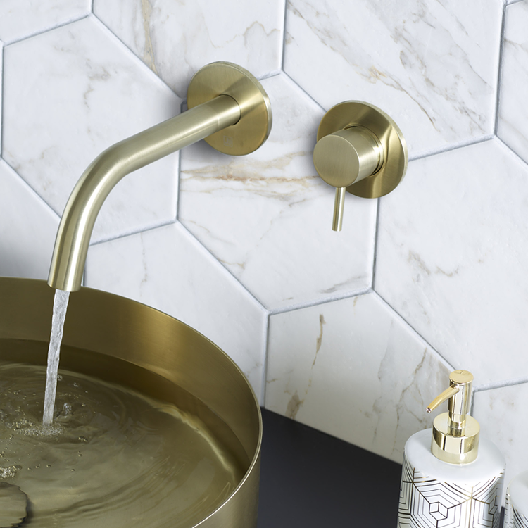 Lifestyle Photo of JTP Vos Brushed Brass Wall Mounted Basin Mixer