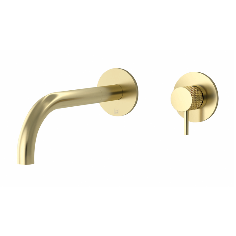 Photo of JTP Vos Brushed Brass Wall Mounted Basin Mixer with Designer Knurled Handle Cutout