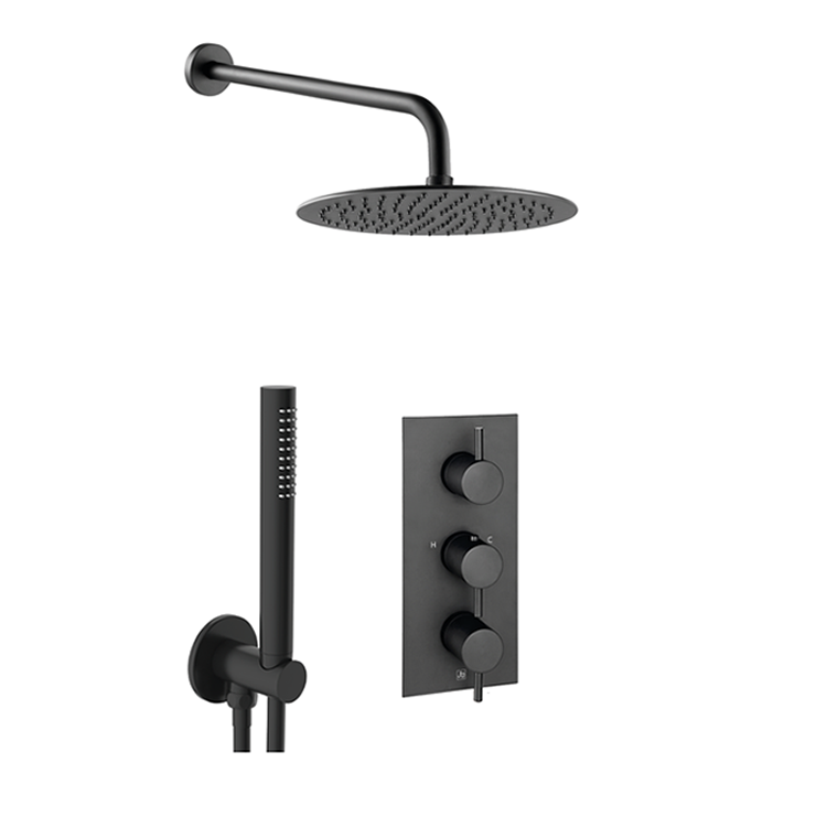 Photo of JTP Vos Matt Black 2 Outlet, 3 Control Fixed Head Shower Pack with Diverter Cutout