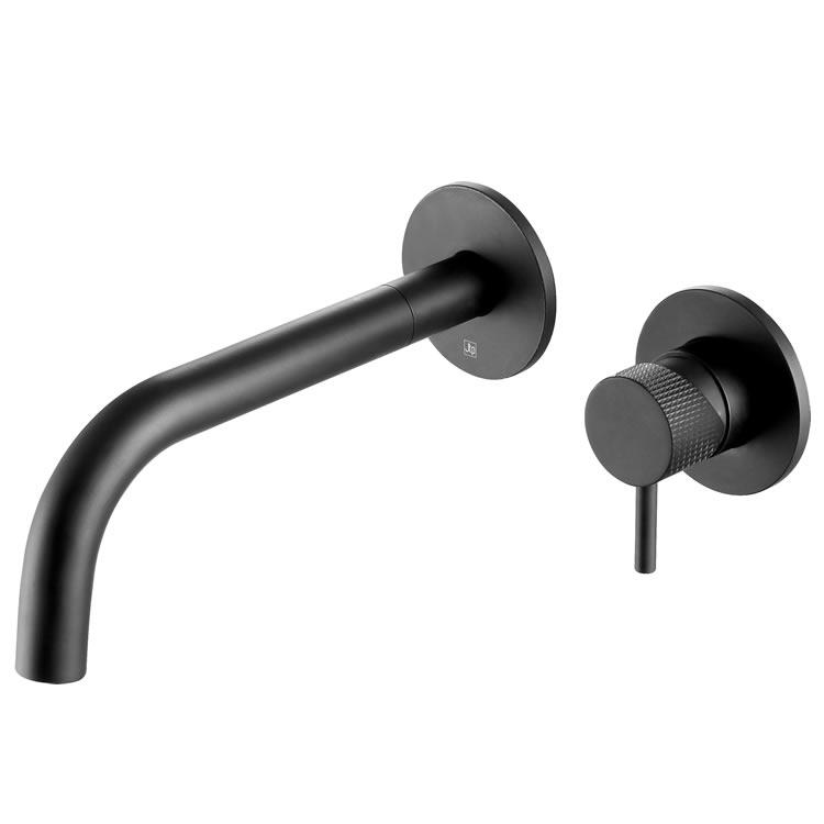 Photo of JTP Vos Matt Black Wall Mounted Basin Mixer with Designer Knurled Handle Outline