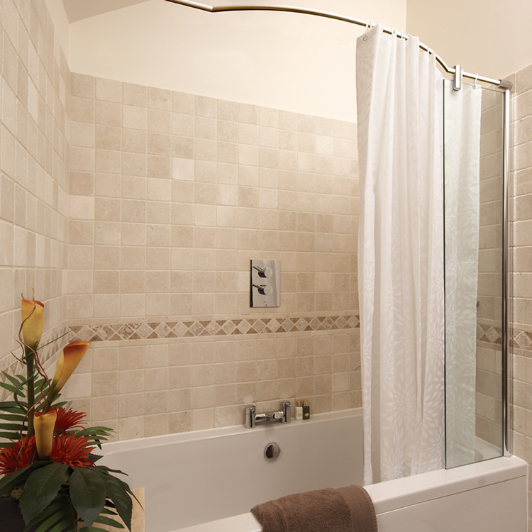 Photo of Kudos Inspire Over Bath Shower Panel with Bow Recess Rail Lifestyle Image