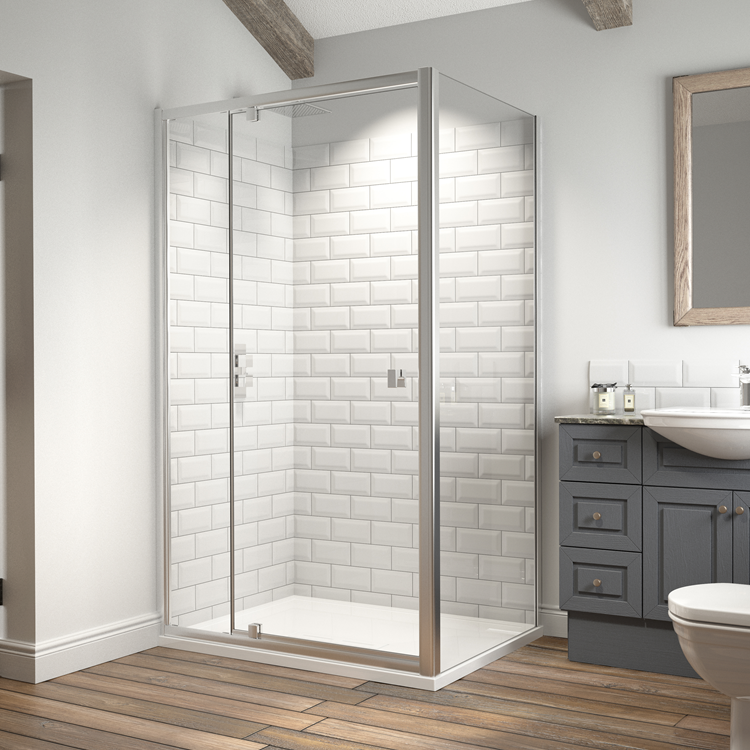 Lifestyle Photo of Kudos Original 6 Straight Pivot Wide Door with Side Panel & Connect 2 Tray
