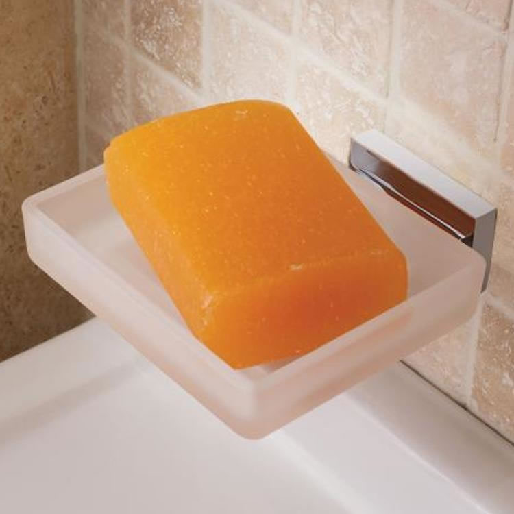 Vado Level Frosted Glass Soap Dish & Holder Image 1