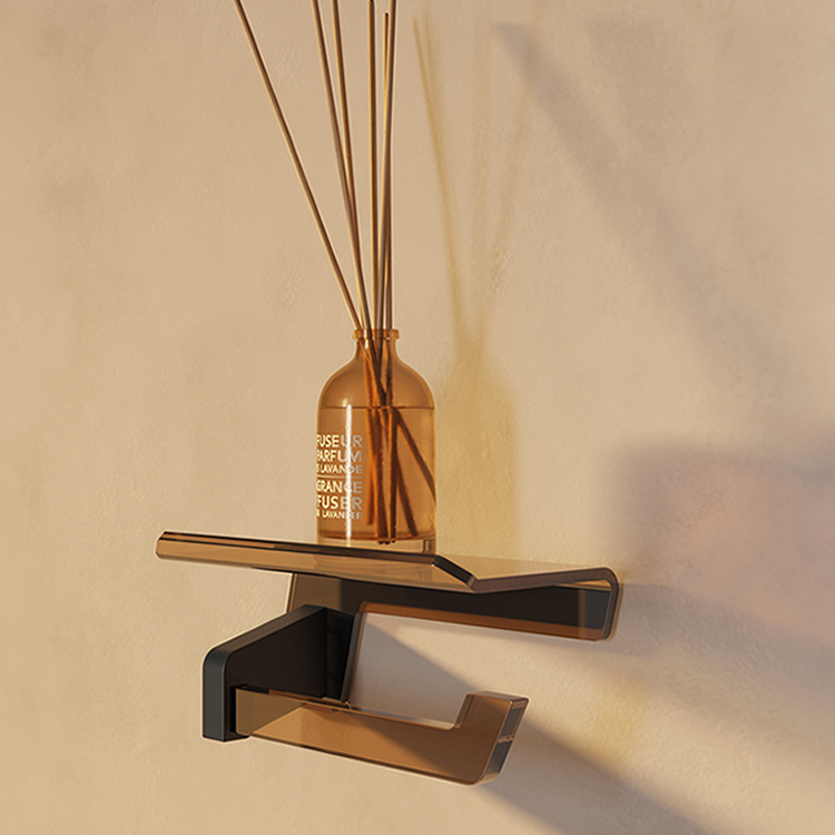 Photo of Bathroom Origins Luce Toilet Roll Holder with Flap Lifestyle Cutout in Black and Bronze