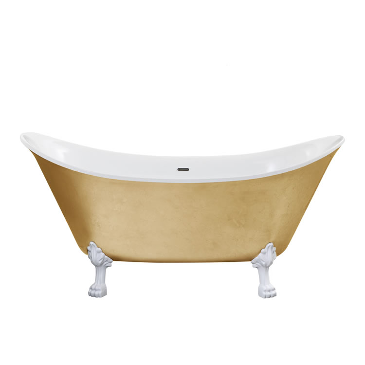 Heritage Lyddington 1730mm Gold Effect Freestanding Acrylic Double Ended Bath