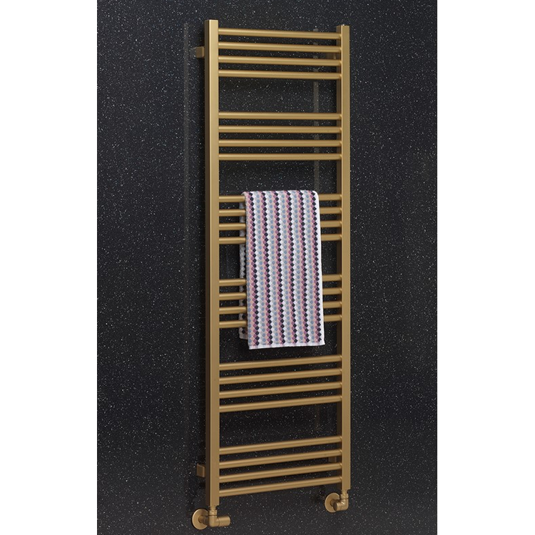 pHOTO OF Crosswater MPRO Brushed Brass 1380mm Heated Towel Rail