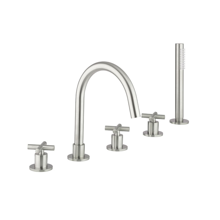 Photo of Crosswater MPRO Brushed Stainless Steel Crosshead Bath 5 Hole Set Cutout