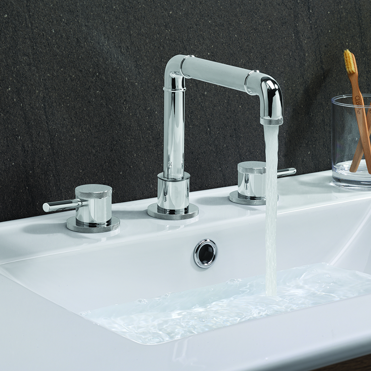 Photo of Crosswater MPRO Industrial Chrome 3 Tap Hole Basin Mixer Lifestyle Image