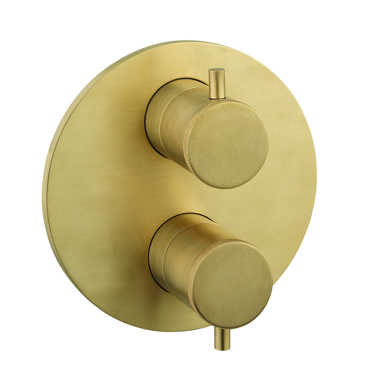 Photo of Crosswater MPRO Industrial Unlacquered Brushed Brass Crossbox 2500 Valve