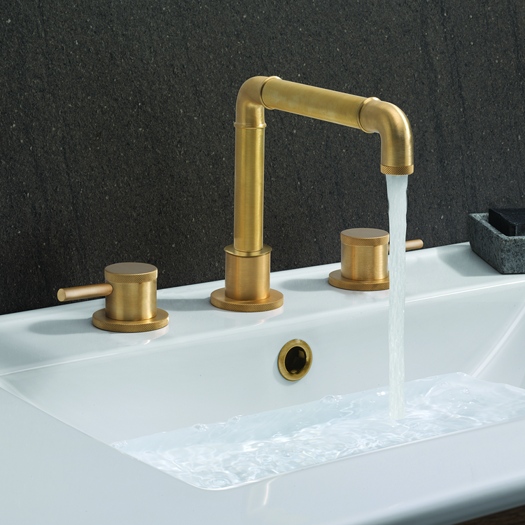 Lifestyle Photo of Crosswater MPRO Industrial Unlacquered Brushed Brass 3 Tap Hole Basin Mixer