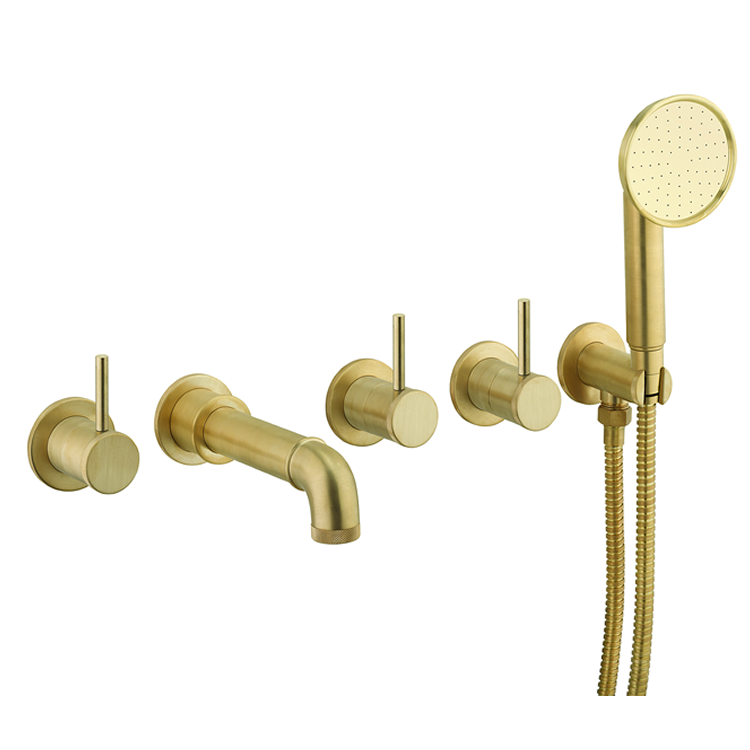 Photo of Crosswater MPRO Industrial Unlacquered Brushed Brass 5 Tap Hole Bath Filler & Handset