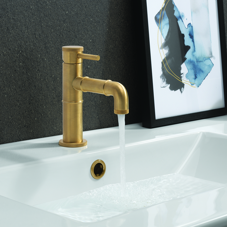 Photo of Crosswater MPRO Industrial Unlacquered Brushed Brass Basin Monobloc Lifestyle Image