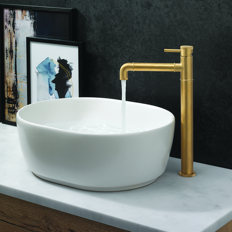 Lifestyle Photo of Crosswater MPRO Industrial Unlacquered Brushed Brass Basin Tall Monobloc