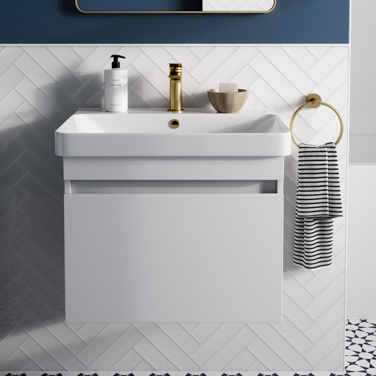 Image of Britton Bathrooms Dalston 500mm Unit in Matt White with gold towel ring and mono tap