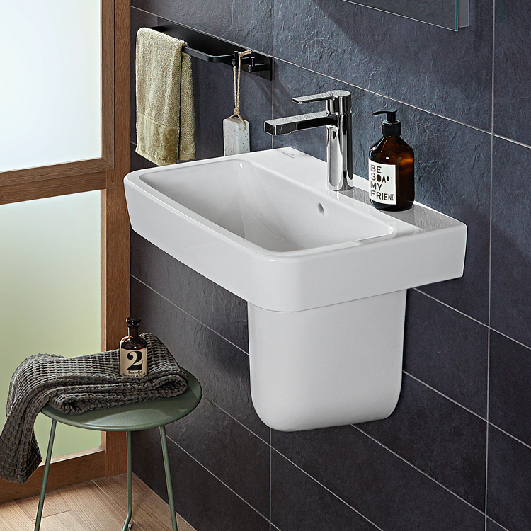 Lifestyle Photo of Villeroy and Boch O.Novo 450mm Hand Wash Basin and Semi Pedestal