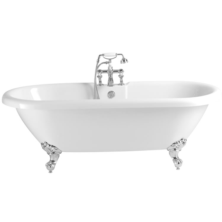 Heritage Oban 1760mm Freestanding Acrylic Double Ended Roll Top Bath