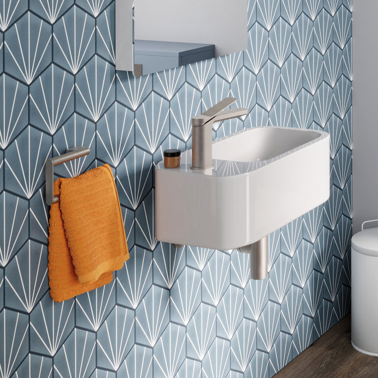 Lifestyle Photo of Crosswater Popolo White Gloss Wall Hung Cloakroom Basin
