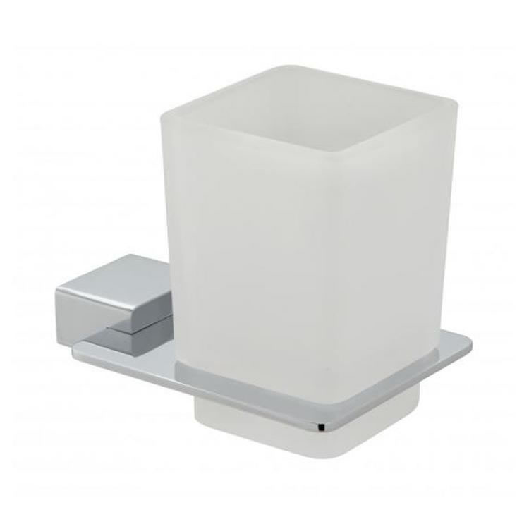 Vado Phase Frosted Glass Tumbler & Holder Image 1