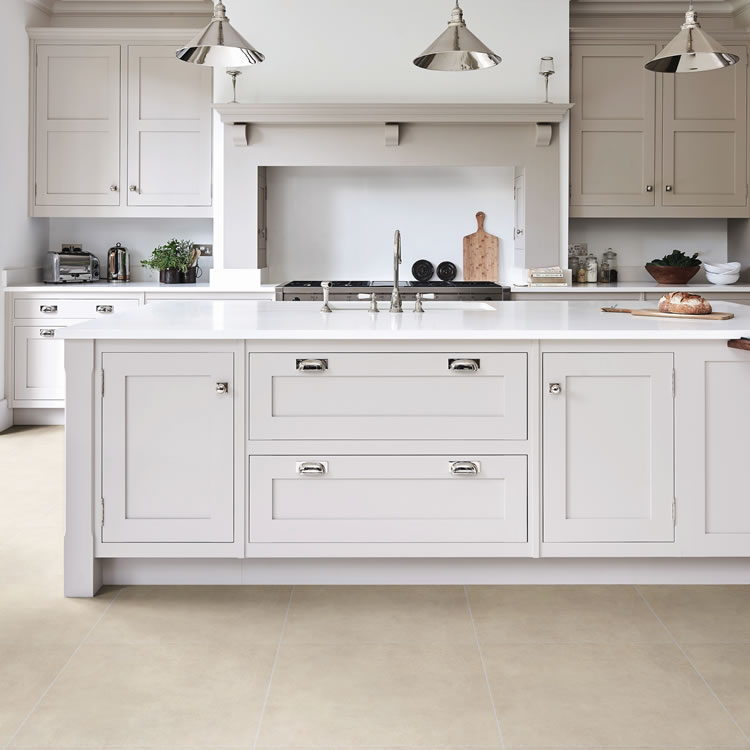 Photo of the Ca' Pietra Harlow Porcelain Satin Tile in Beige in a Kitchen Setting