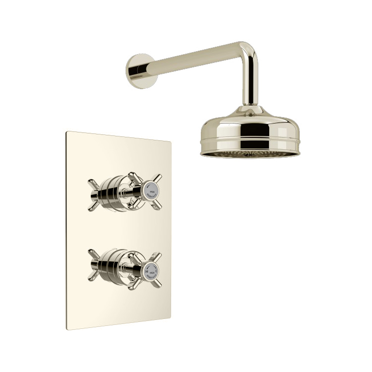 Photo of Heritage Dawlish Vintage Gold Recessed Shower Kit With Premium Fixed Head