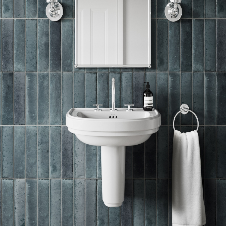 Lifestyle image of Burlington Riviera D Shaped Basin with 1 tap hole and Semi Pedestal in dark tile bathroom with mirror & towel ring