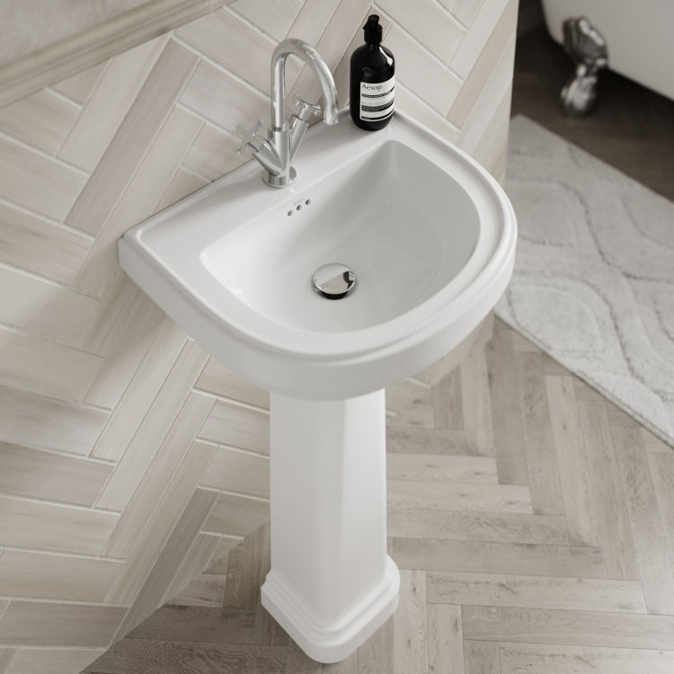 Lifestyle image of Burlington Riviera D Shaped Basin with full pedestal and 1 tap hole in bathroom suite
