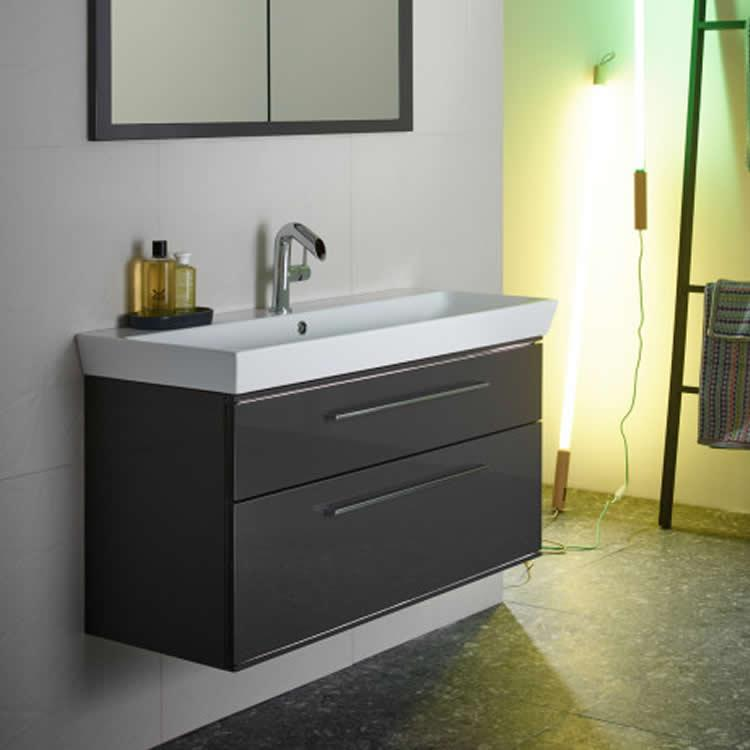 Lifestyle Photo of Roper Rhodes Scheme 1000mm Gloss Dark Clay Wall Mounted Vanity Unit and Basin