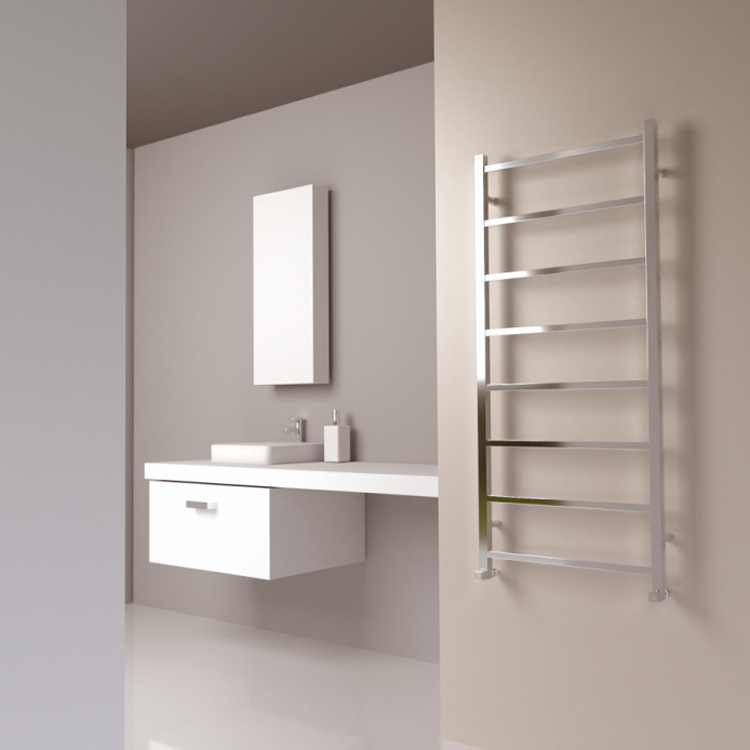 Lifestyle Photo of SBH Maxi Square 8 Bar 1300 x 600mm Electric Stainless Steel Radiator