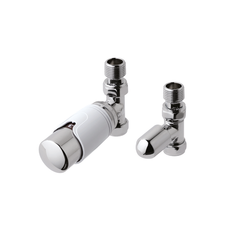 Photo of Eastbrook Chrome and White Straight Thermostatic Radiator Valves Cutout