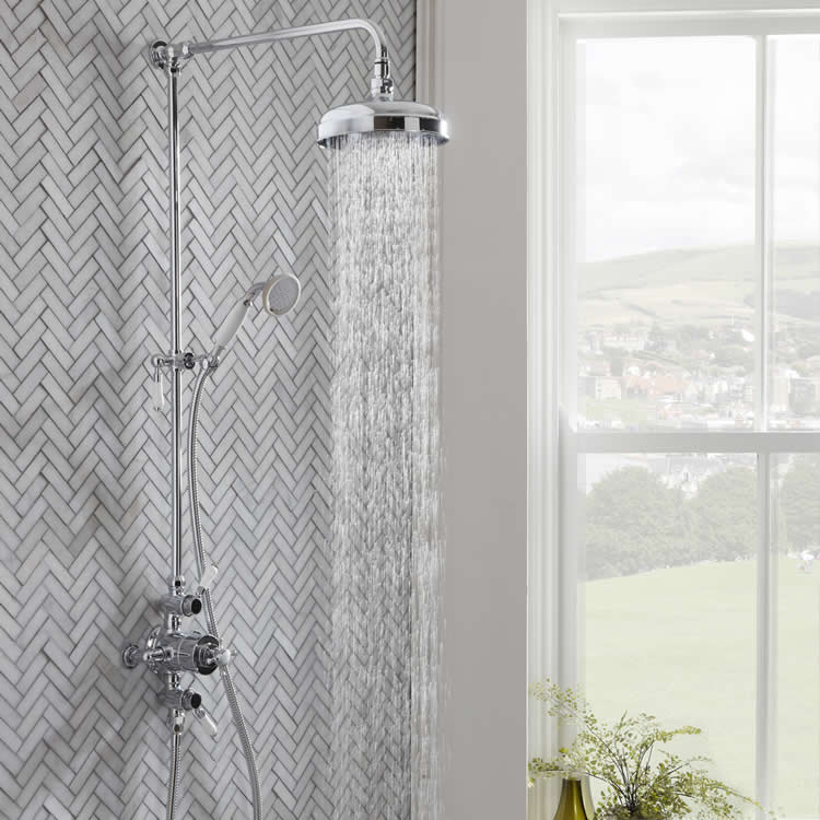 Roper Rhodes Cranborne Dual Function Exposed Shower System - Water On