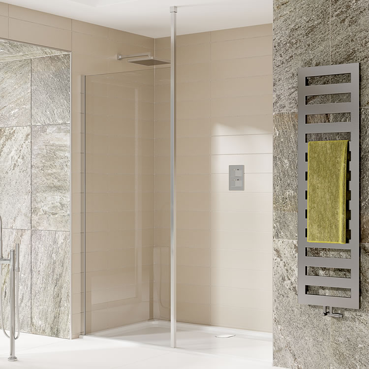 Elite Wet Room Glass Screen With Ceiling Post