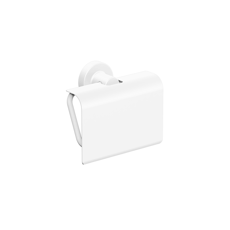 Photo of Bathroom Origins Tecno Project White Toilet Roll Holder with Flap Cutout