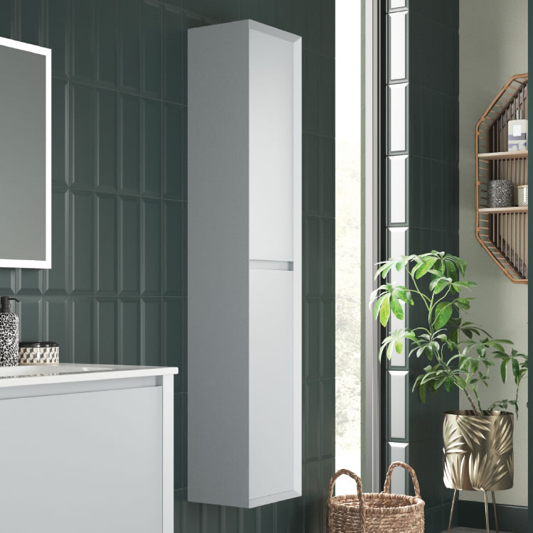 Cut Out Image of the Tall Wall Hung Unit in Matt Mid Grey