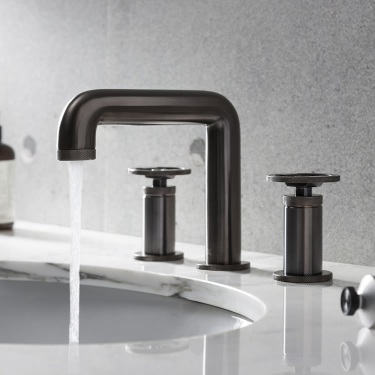 Photo Of Crosswater Union Brushed Black Chrome 3 Hole Mixer With Water