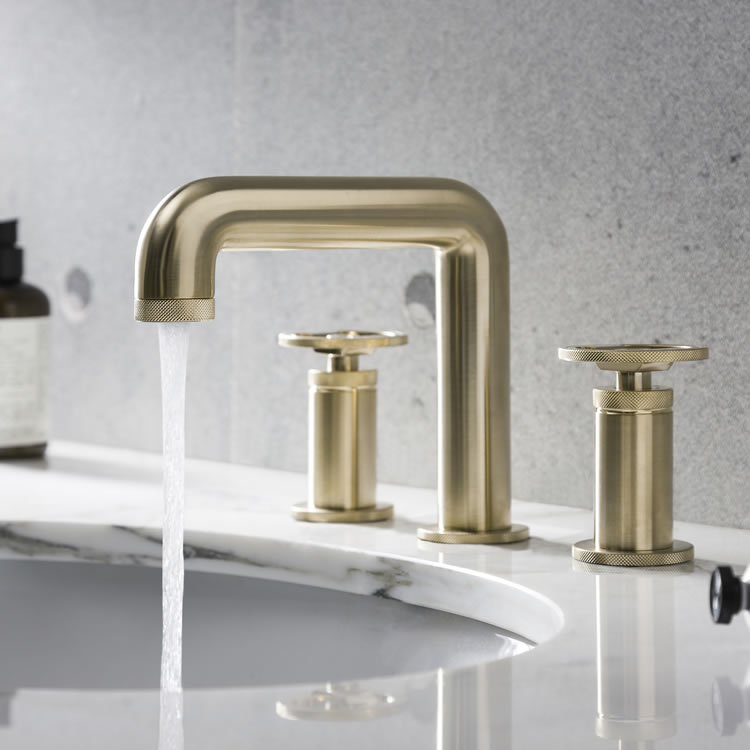 Photo Of Crosswater Union Brushed Brass 3 Tap Hole Deck Mounted Basin Mixer - On