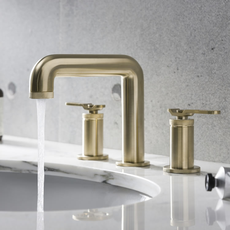 Photo Of Crosswater Union Brushed Brass 3 Tap Hole Deck Mounted Lever Basin Mixer - Lifestyle