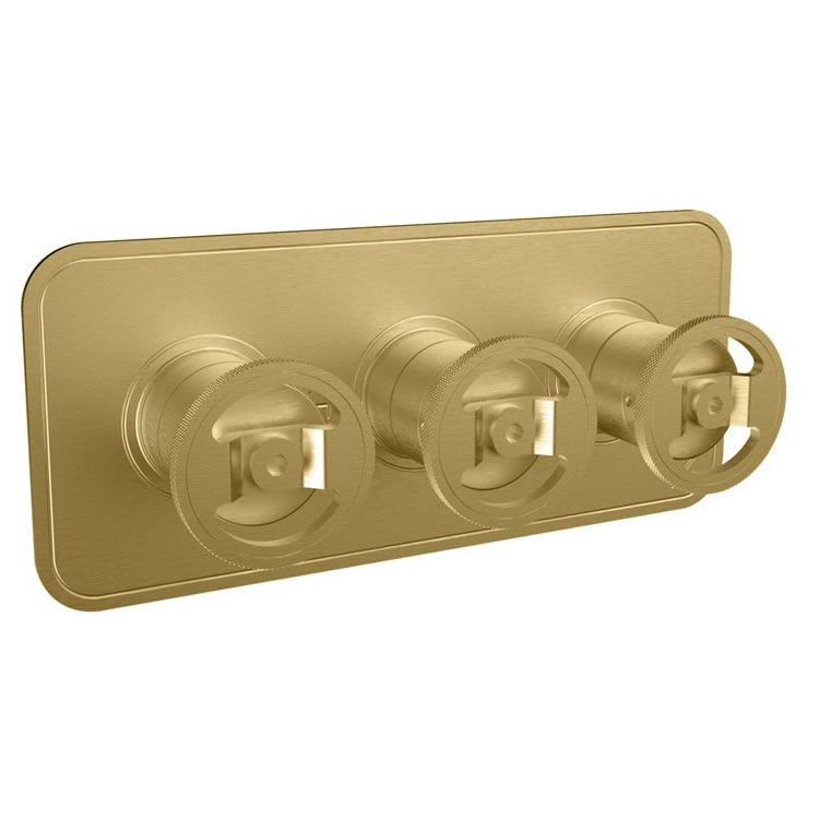Photo Of Crosswater Union Brushed Brass Landscape Shower Valve With 3 Way Diverter