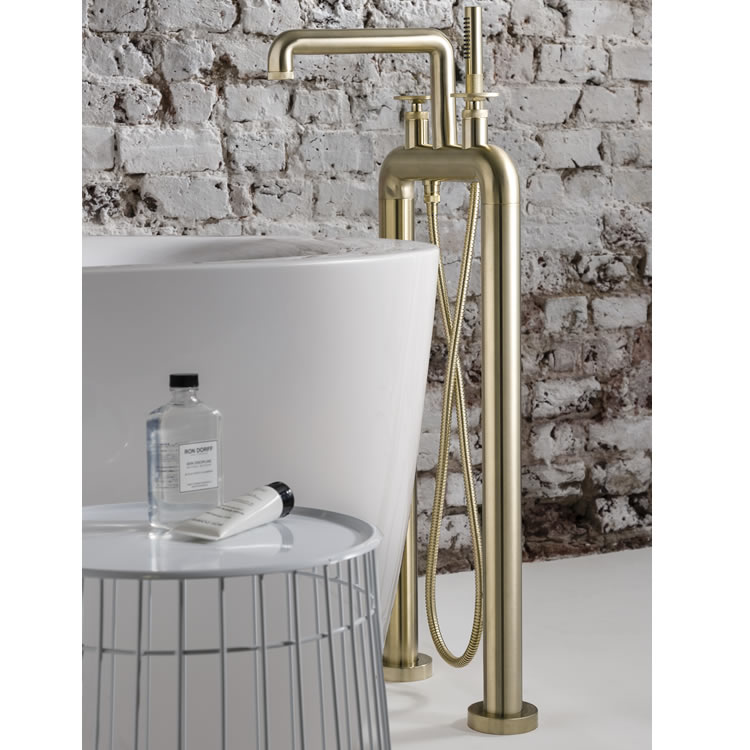 Photo Of Crosswater Union Brushed Brass Freestanding Bath Filler - Lifestyle