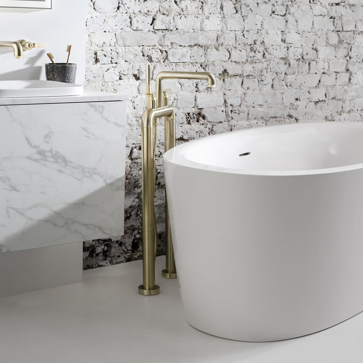 Photo Of Crosswater Union Brushed Brass Freestanding Lever Bath Filler & Shower Kit With Bath