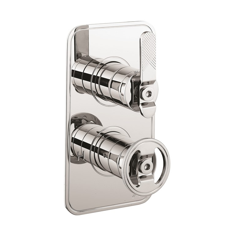 Photo of Crosswater Union Chrome Lever 2 Outlet 2 Handle Concealed Shower Valve Cutout