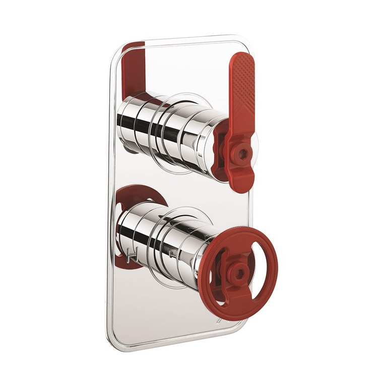 Photo of Crosswater Union Chrome & Red 1 Outlet 2 Handle Concealed Shower Valve Cutout