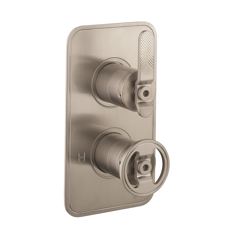 Photo of Crosswater Union Brushed Nickel 2 Outlet 2 Handle Concealed Shower Valve Cutout