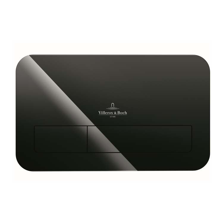 Photo of Villeroy and Boch Viconnect M200 Glass Gloss Black Dual Flush Plate Cutout