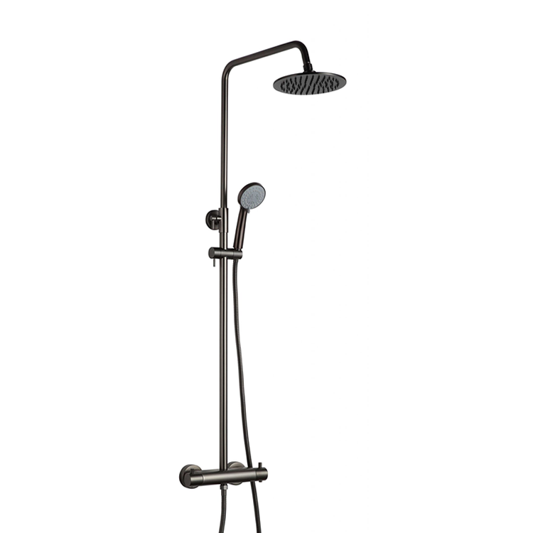 Photo of JTP Vos Brushed Black Thermostatic Exposed Bar Valve Shower Kit Cutout