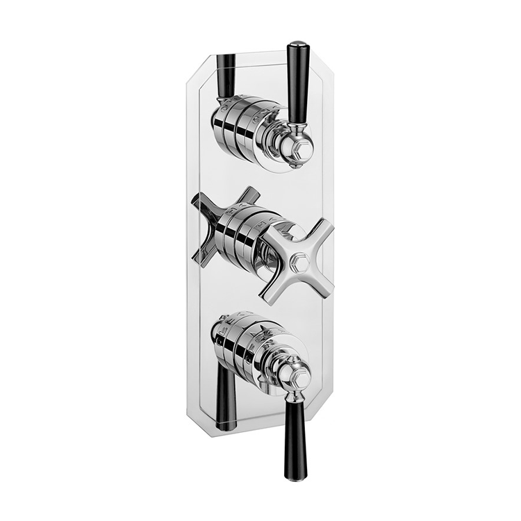 Photo of Crosswater Waldorf Black Lever 3 Outlet 3 Handle Concealed Shower Valve Cutout